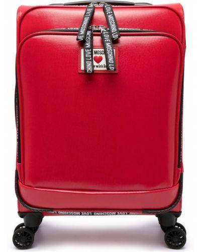 Bawełna skórzany walizka z łatami Love Moschino