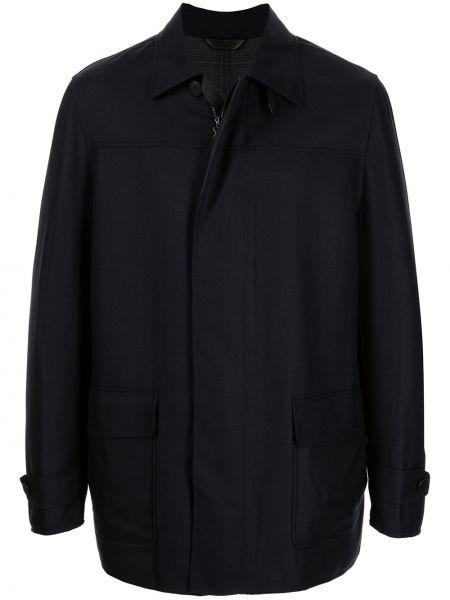 Шерстяное пальто - синее Brioni