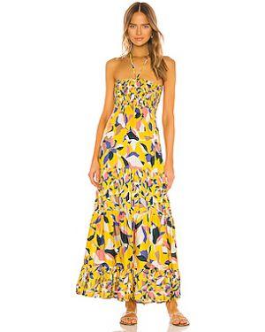 Платье макси с декольте со складками Maaji