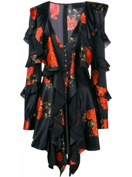 Платье макси на пуговицах с цветочным принтом Philipp Plein