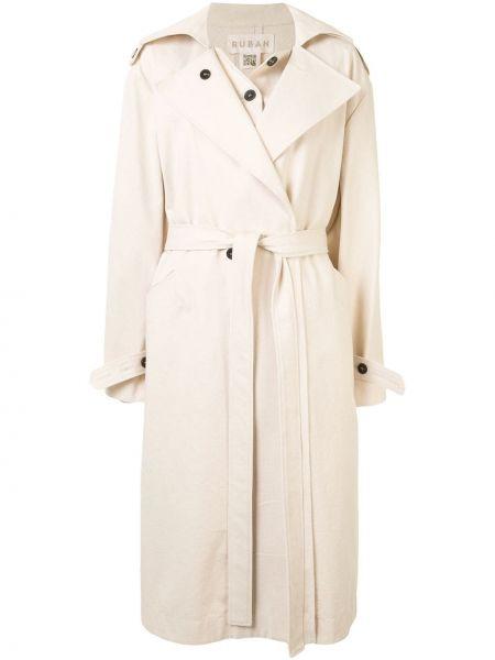 С рукавами прямое пальто на пуговицах со вставками Ruban