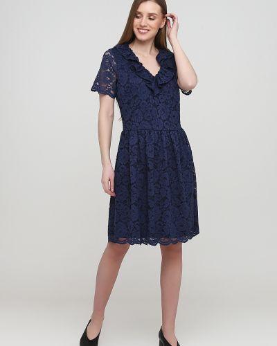 Ажурное синее платье мини с короткими рукавами Kookai