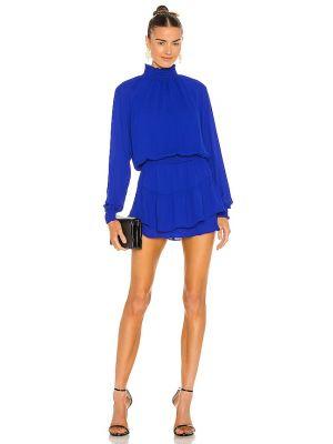 Синее платье с декольте с манжетами Krisa