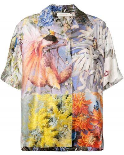Шелковая классическая рубашка с короткими рукавами с воротником Zimmermann
