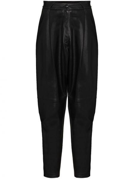 Зауженные кожаные черные брюки Alessandra Rich