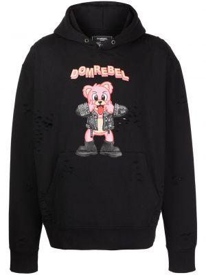 Czarny sweter z printem Domrebel