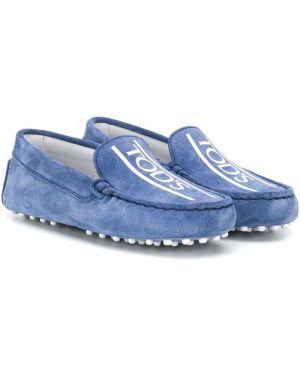 Синие кожаные мокасины без застежки Tod's Kids
