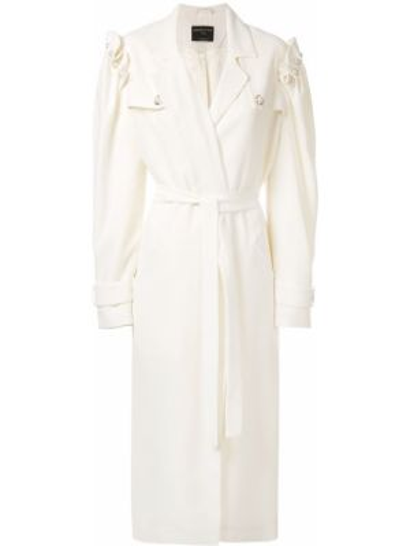 Шерстяное белое пальто с капюшоном Mother Of Pearl