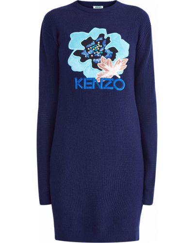 Платье мини в рубчик шерстяное Kenzo