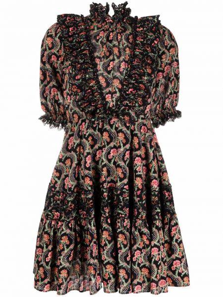 Czarna sukienka rozkloszowana w kwiaty bawełniana Bytimo