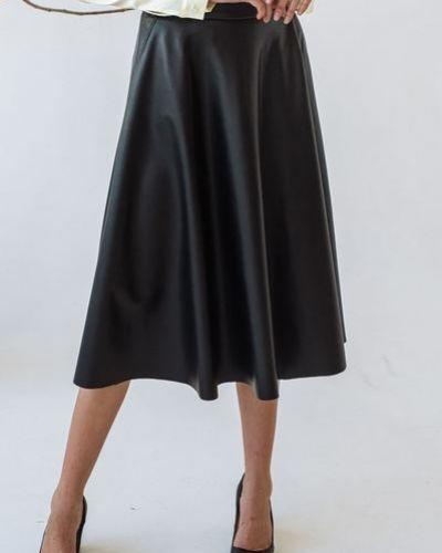 Повседневная коричневая кожаная юбка полусолнце Vovk