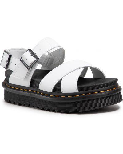 Sandały skórzane - białe Dr. Martens