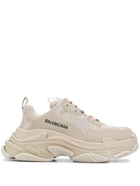 Beżowe sneakersy skorzane sznurowane Balenciaga