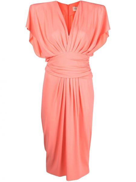 Różowa sukienka midi z wiskozy bez rękawów Alexandre Vauthier