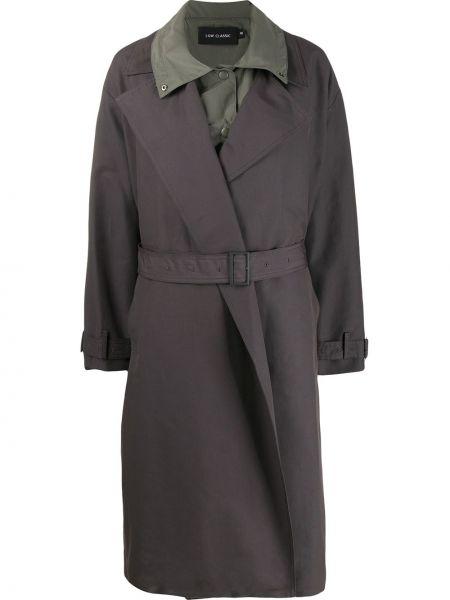 Серый пальто классическое с воротником Low Classic