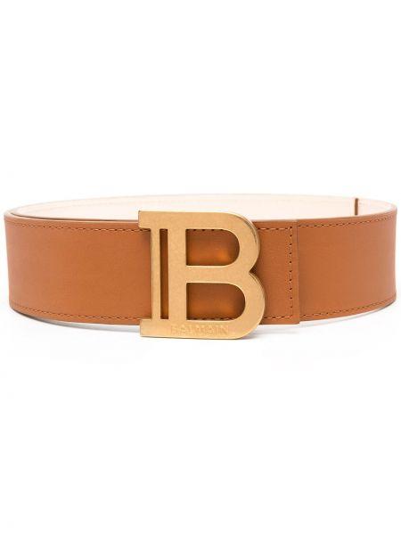 Золотистый кожаный коричневый ремень с пряжкой Balmain