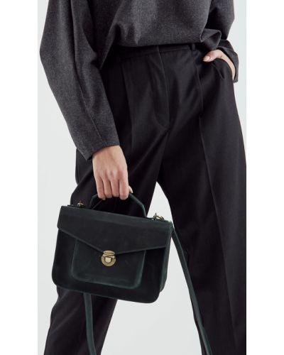 Кожаный портфель с карманами винтажный черешня