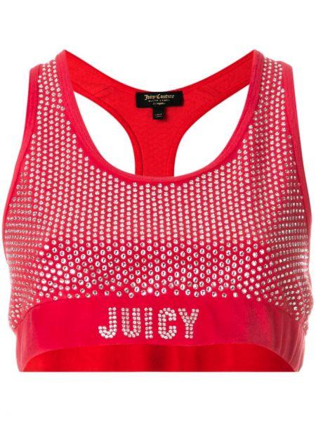 Красный велюровый спортивный топ без рукавов с вырезом Juicy Couture