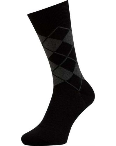 Prążkowane czarne skarpety bawełniane Burlington