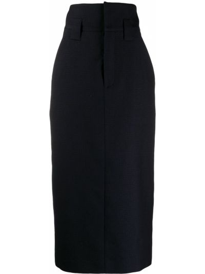 Синяя с завышенной талией юбка карандаш в клетку Fendi