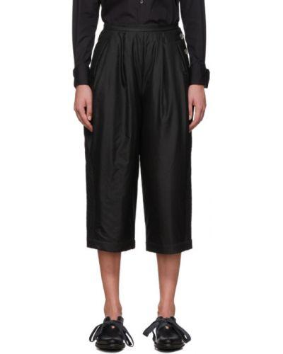 Шелковые черные укороченные брюки с поясом свободного кроя Renli Su