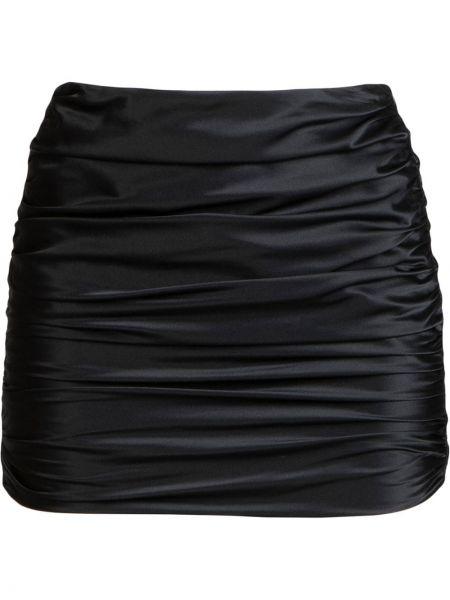 Шелковая с завышенной талией черная юбка мини с оборками Michelle Mason