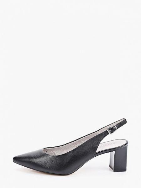 Кожаные туфли черные с открытой пяткой Caprice