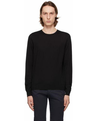 Czarny długi sweter wełniany z haftem Isaia