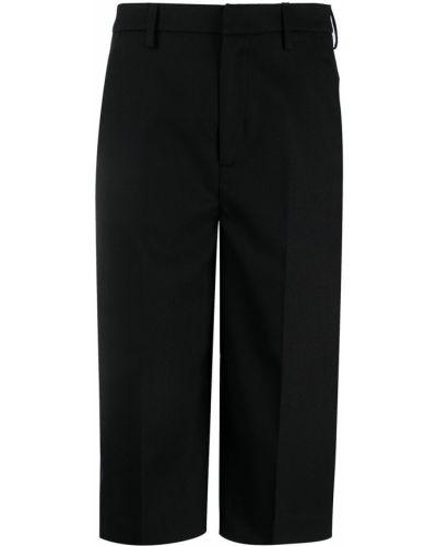 Шерстяные черные укороченные брюки с поясом с высокой посадкой Dondup