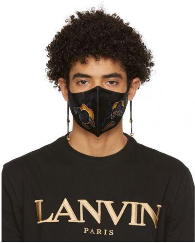 С ремешком шелковая черная маска для лица Lanvin