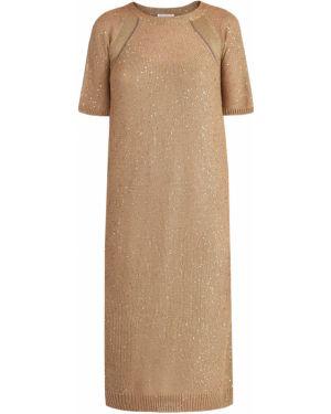 Платье мини миди с вышивкой Brunello Cucinelli