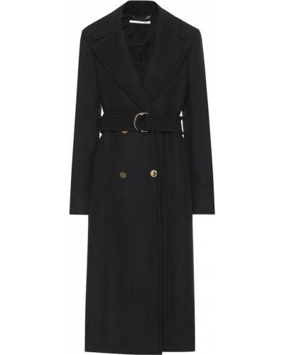 Черное шерстяное пальто с поясом Stella Mccartney