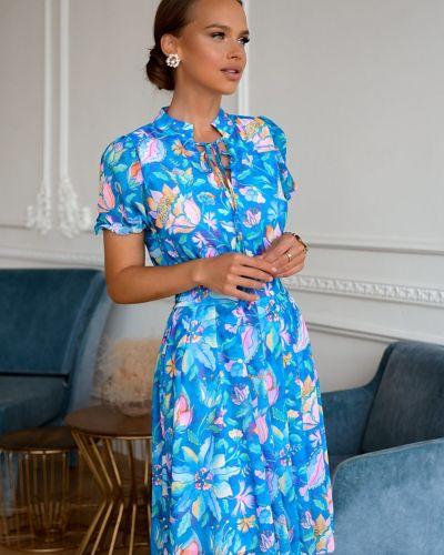 Приталенное шифоновое с рукавами платье Open-style