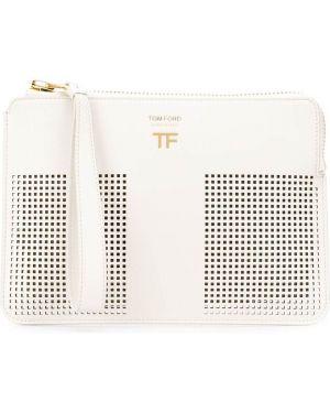 Белая кожаная сумка с перфорацией с пряжкой на молнии Tom Ford