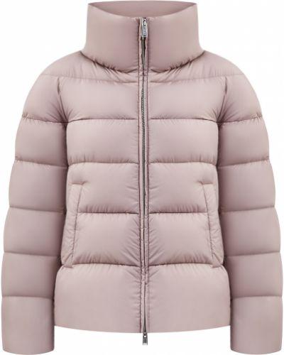 Теплый розовый пуховик с перьями Add