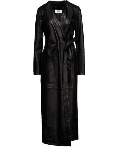 Кожаное полупальто - черное Mm6 Maison Margiela