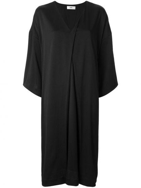 Черное платье миди с V-образным вырезом свободного кроя на молнии Muller Of Yoshiokubo