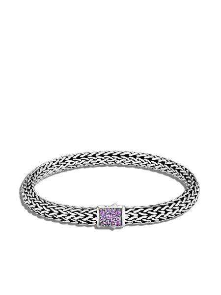 Czarna bransoletka łańcuch srebrna ametyst John Hardy