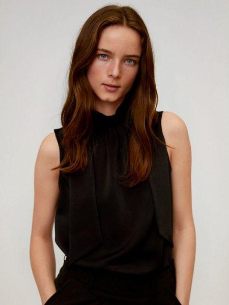 Блузка без рукавов черная весенний Mango