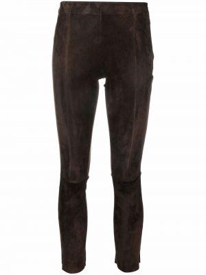 Кожаные брюки - коричневые Salvatore Santoro