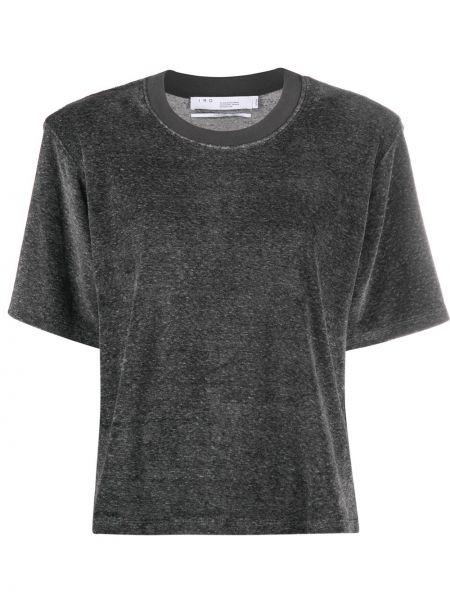 С рукавами серая прямая рубашка с коротким рукавом из вискозы Iro