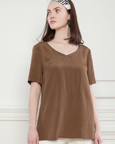 Шелковая базовая футболка с короткими рукавами Dolcedonna