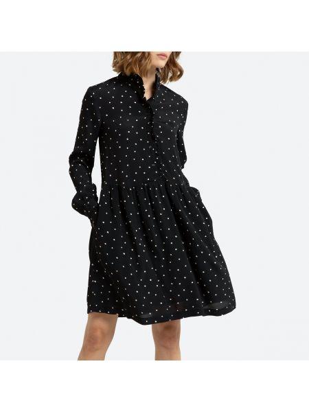 Платье с поясом в горошек на пуговицах La Redoute