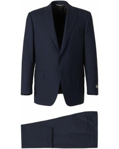 Niebieski garnitur wełniany Canali
