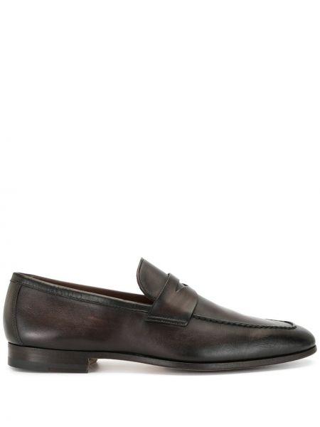 Коричневые кожаные лоферы на каблуке Magnanni