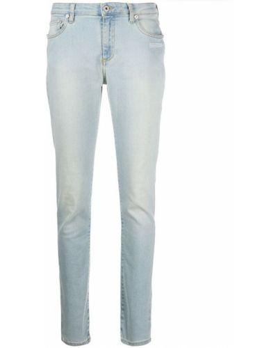 Białe jeansy zapinane na guziki bawełniane Off-white