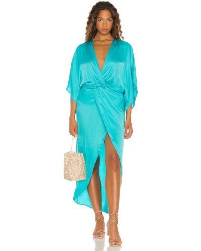 Платье макси атласное - синее Young Fabulous & Broke
