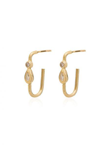 Желтые золотые серьги с подвесками с бриллиантом Jacquie Aiche