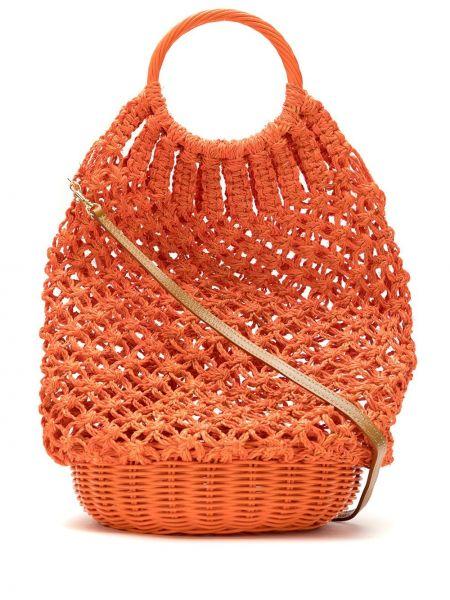 Оранжевая соломенная сумка с ручками круглая Serpui
