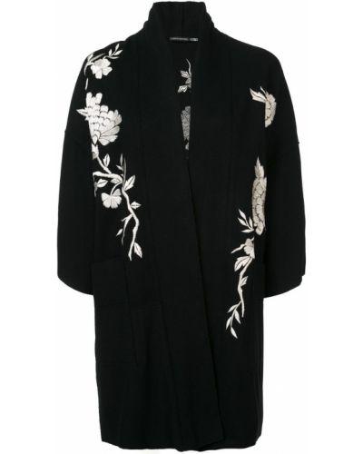 Черное длинное пальто с капюшоном с вышивкой Josie Natori